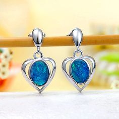 Ocean Blue Fire Australian Black Opal Doublet (Boulder Opal) Heart Stud Earrings