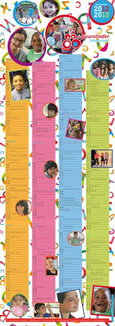 Schoolkalender 2012-2013 voor Totaalschool de Vuurvlinder in Den Haag.