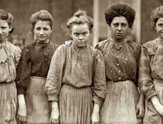 Hard working women from a cotton mill, 1909.