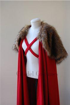 Unisex Larp/Reenactment Cloak with Faux Fur Mantle and Chest Straps.