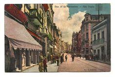 Cartão postal tipográfico: Rua 15 de Novembro - São Paulo. Edição da Casa Rosenhain. MBC.