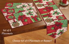 Holiday Poinsettia Tapestry Table Linens