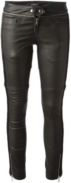 ISABEL MARANT Black Kerry Biker Leather Trouser - Lyst