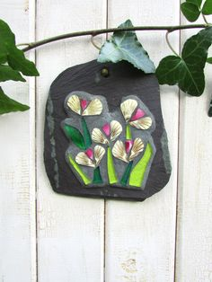 Mosaic Christmas Gift ~ Mosaic Flowers on Slate ~ Recycled Art for Home & Garden ~ Mosaic Wall Plaque ~ Shabby Chic Wall Decor ~ Eco Art by RecycleMeMosaics on Etsy