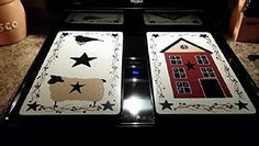 Primitive Country Decor Hand Painted Sheep, Salt Box House, Crow Stove Burner Covers Set of 2 Primitive Kitchen, Primitive Crafts, Country Primitive, Stove Burner Covers, Stove Top Burners, Dealing With Difficult People, Country Sampler, Salt Box, Box Houses