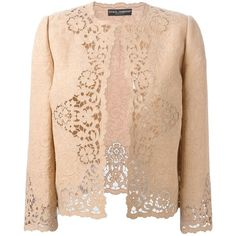 Dolce & Gabbana cut-out floral embroidered jacket ($4,565) ❤ liked on Polyvore featuring outerwear, jackets, beige jacket, long sleeve jacket, open front jacket, dolce gabbana jacket and dolce&gabbana