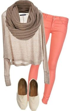 peach skinny jeans and nude colored long sleeve blouse with brown scarf and nude colored TOMS