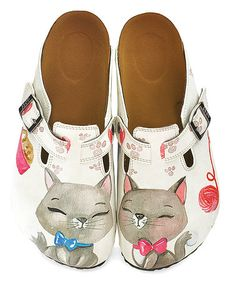 Take a look at this White & Gray Kitty Slip-On Mule today! Walk In My Shoes, Me Too Shoes, Cat Shoes, Shoe Boots, Baskets, Slip On Mules, Kinds Of Shoes, Crazy Cat Lady, Mules Shoes