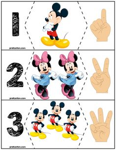 Free Educational Materials is part of Disney themed classroom - Mickey & Minnie are excellent characters for getting a kid's attention in order to teach basic skills Here is a set of free educational materials for basic number skills! Preschool Puzzles, Kids Math Worksheets, Numbers Preschool, Preschool Classroom, Classroom Themes, Preschool Crafts, Kindergarten, Disney Activities, Preschool Learning Activities