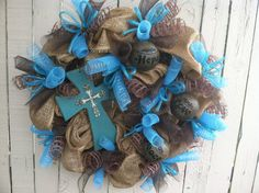 Christian themed deco mesh wreath featuring a cross and 3 decorative balls with scripture . turquoise, burlap, and chocolate . Christmas Deco, Christmas Wreaths, Christmas Crafts, How To Make Wreaths, Crafts To Make, Diy Crafts, Autumn Wreaths, Easter Wreaths, Deco Mesh Wreaths