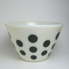 Fire King black dots mixing bowl
