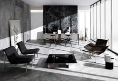 the art direction takes elements of classic furniture design and marries it with a unique modern style of brutalist architecture. Feng Shui, Home Living Room, Living Spaces, Interior Architecture, Interior And Exterior, Wallpaper Magazine, Interior Decorating, Interior Design, Decoration