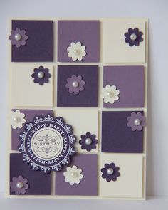 You could easily use any colour combination & flower or small punch combination for this card. You could also use a square sentiment instead of the round for your focal piece too, & make it suit whatever occasion you need.