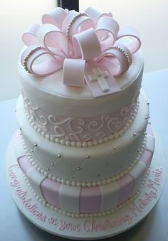 Melodys Pink Baptism Cake | Flickr - Photo Sharing!