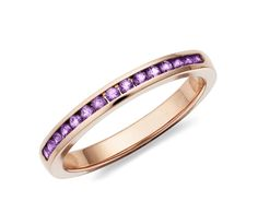 Channel Set Amethyst Ring in 14k Rose Gold