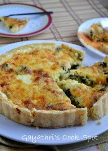 Eggless Spinach and Cheddar Cheese Quiche | Gayathri's Cook Spot