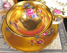 Radfords Tea Cup and Saucer All Gold & Painted Rose Floral Teacup Pattern