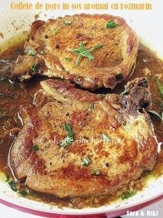 Cotlete de porc in sos aromat cu rozmarin ~ Culorile din farfurie Pork Recipes, Baby Food Recipes, Cooking Recipes, Healthy Recipes, Romania Food, Good Food, Yummy Food, Desert Recipes, My Favorite Food