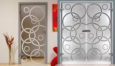 Glass door frosted with circle design Double Glass Doors, Sand Glass, Kitchen Doors, Circle Design, Glass Design, Wood Doors, Innovation, Interior Design, Room