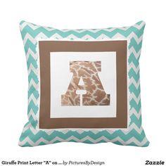 "Giraffe Print Letter ""A"" on Mint/White Chevron Throw Pillow"