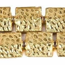 12mm 22kt Gold Plated Copper Medium Cobblestone Embossed Square Beads, 8 inch