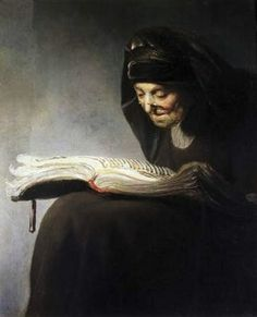 """"""" Mother Reading,"""" Rembrandt Harmenszoon van Rijn  (cool that Rembrandt did a number of paintings of his mother) Thanks!"""