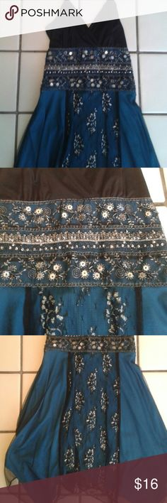 Boho dress Teal and black, lace and sequins. Size says large but it is medium really. Dresses Midi
