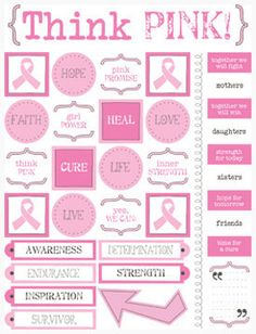 Think Pink / Live Life stickers - SRP Press - pink ribbon, cancer awareness by PaperHaberdashery on Etsy
