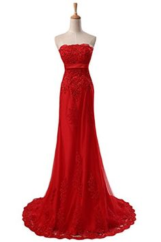 Sunvary Red Lace Wedding Bridal Dress...
