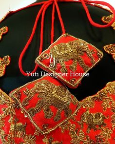 Custom made tassels of a Red bridal blouse incorporated with elephants and deers by YUTI for all the animal lovers out there! For Price and Other details reach us at or Whatsapp: 7010905260 Address: Valmiki street, Thiruvanmyur. Red Blouses, Blouses For Women, Saree Tassels, Bridal Blouse Designs, Party Wear Sarees, Floor Length Anarkali, Bridal Lehenga, Cotton Saree, Saree Blouse