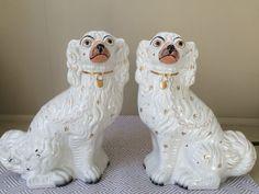 "PAIR STAFFORDSHIRE NO.1 WHITE AND GILT SPANIEL DOGS 12"""