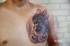 King Tattoos, Monkey King, Mythology, Watercolor Tattoo, Shark, Dragon, Chinese, Japanese, Drawings