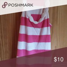 Pink and white striped Old Navy tank Pink and white horizontal stripes, embellishment at neckline. Old Navy Tops Tank Tops