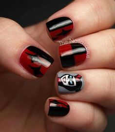 Harley Quinn nails <3 different ring finger though