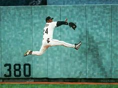 Ken Griffey, Jr Flying Into the Wall - Original Limited Edition Baseball Painting by Derek Alvarez - Derek Alvarez Art