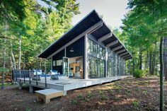 Tomahawk Lake Residence on Behance Barn House Plans, New House Plans, Small House Plans, Lake Home Plans, Tyni House, Tiny House Cabin, Modern Bungalow, Modern Cottage, House Roof Design