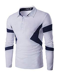 Turn Down Collar Color Spliced Long Sleeve Polo Shirt For Men Indian Men Fashion, Big Men Fashion, Fashion 2016, Polo Outfit, Mens Shirts Online, Shirt Style, Casual Shirts, Long Sleeve Shirts, Menswear