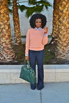 Cable knit + plaid + flairs = 70's chic