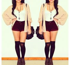 Knee high socks. shorts. big sweater. tank