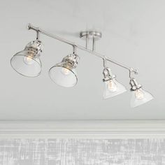 Luca Nickel Clear Glass Track Fixture by Pro Track - Track Lighting Kits, Track Lighting Fixtures, Lighting System, Light Fixtures, Kitchen Track Lighting, Kitchen Fixtures, Glass Shades, Clear Glass, Bulb