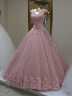 Long Prom Dress,Ball Gown Appliques Prom Dresses,Tulle Prom Dress,Pink Quinceanera Dress,Formal Dress A-Line Grey Stain High Split Prom Dresses With Pocket Prom Dresses Long Pink, Elegant Prom Dresses, Long Prom Gowns, Sweet 16 Dresses, Tulle Prom Dress, Pretty Dresses, Beautiful Dresses, Formal Dresses, Formal Prom