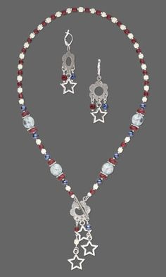 "Necklace and Earring Set with Wood Beads, Czech Glass Druk Beads and Antiqued Silver-Finished ""Pewter"" Charms. Design by Jamie Smedley. FREE Project with Instructions. #FMG Design Idea D33B"