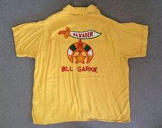 Vintage NAT NAST 50's ORIGINAL Bowling Shirt RAYON Shriners Al Kader Rockabilly #NATNAST #ButtonFront