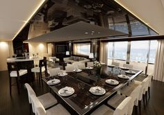 Have you ever wondered what it would be like to wander around inside a plush luxury yacht? Well, this is your lucky day. We've got a gallery of luxurious yacht Yacht Luxury, Luxury Yacht Interior, Luxury Homes, Luxury Travel, Luxury Cars, Interior Design Tips, Home Design, Dining Suites, Diy Home Decor On A Budget