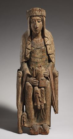 "Enthroned Virgin and Child, 1130–40  French; Made in Burgundy. Birch wood with paint. H. 40 1/2"". The Cloisters."