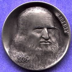 STEVE ADAMS HOBO NICKEL - DaVINCI - 1936 BUFFALO NICKEL Steve Adams, Pewter Art, Hobo Nickel, Coin Art, Small Stuff, Coin Jewelry, Nun, Rare Coins, Arts