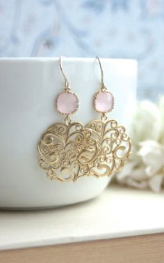 Gold Paisley Filigree Chandelier with Blush Ice Pink Drops Earrings, Bridesmaid Gift, Blush Pink and Gold Wedding. Pink And Gold Wedding, Gold Wedding Theme, Boho Wedding, Lace Earrings, Vintage Earrings, Wedding Earrings, Dangle Earrings, Wedding Jewelry, Pearl Chandelier