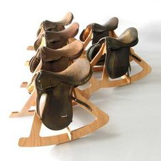 upcycle and old horse saddle into a rocking horse chair for adults Woodworking Videos, Woodworking Furniture, Diy Woodworking, Woodworking Workshop, Woodworking Quotes, Intarsia Woodworking, Woodworking Classes, Woodworking Techniques, Equestrian Decor