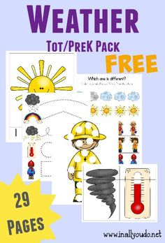 Free Weather Tot and PreK/K Pack from In All You Do Weather Activities for Kids Weather Activities Preschool, Teaching Weather, April Preschool, Weather Science, Weather Unit, Preschool Lesson Plans, Free Preschool, Preschool Themes, Preschool Science