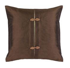 Oriental Mocha Silk Cushion with Chinese Button Knot